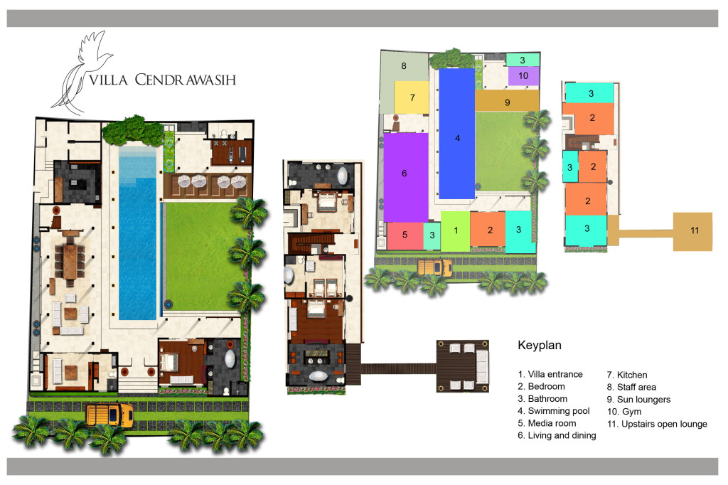 Villa cendrawasih bali luxury private villas for Floor plans for 160 000