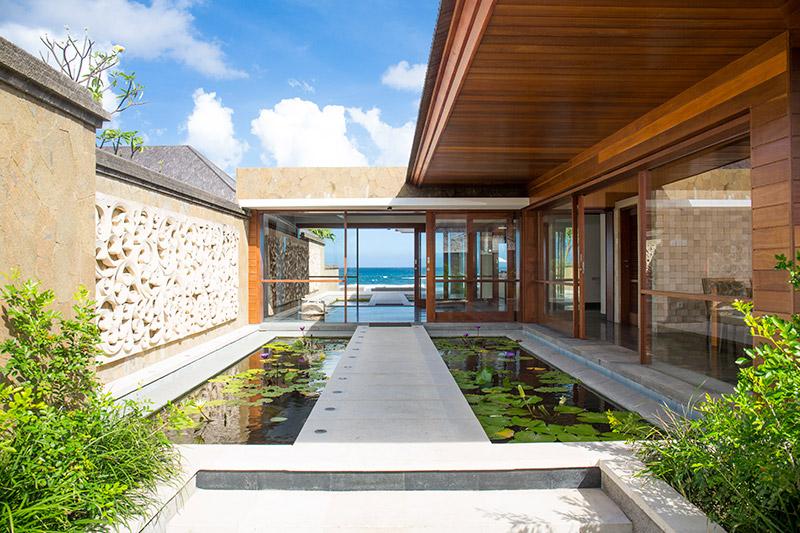 Villa Bayu Gita Beachfront Path Across Pond